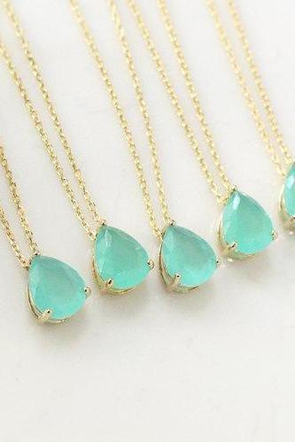 Bridesmaid gifts - Set of 4 - Mint crystal drop necklace, Gorgeous Drop,stone in bezel,raindrop Necklace,mint necklace, mint pendant
