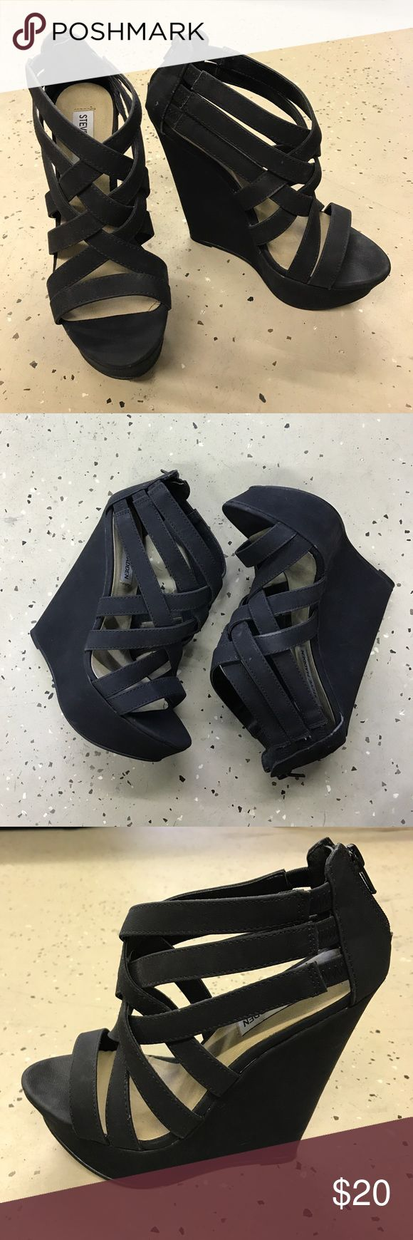 Steve Madden Black Wedges Black Steve Madden wedges. They have been worn a couple of times and they have a few marks on them. Steve Madden Shoes Wedges