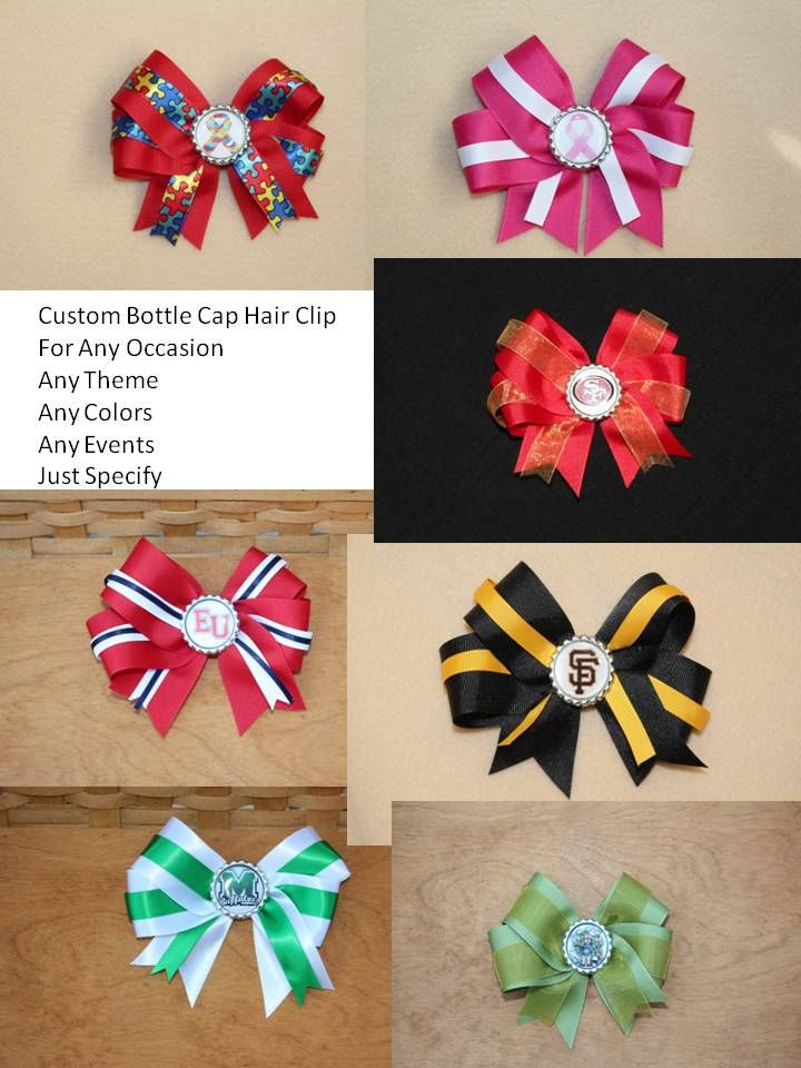 Custom Bottle Cap Hair Clips For Any Events, Occasions, Any Team Or any Theme