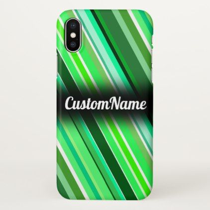 Various Shades of Green Stripes w/ Custom Name iPhone X Case - stripes gifts cyo unique style