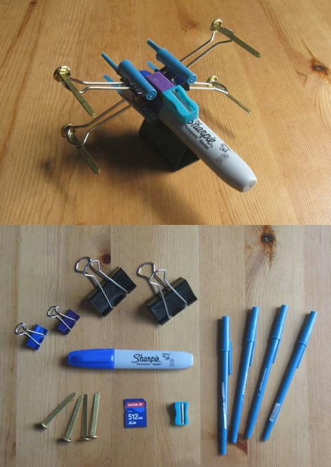 X-Wing Fighter from office supplies ... Reminds me of working in the lab.... We made all kindsa crap... Like a pterodactyl