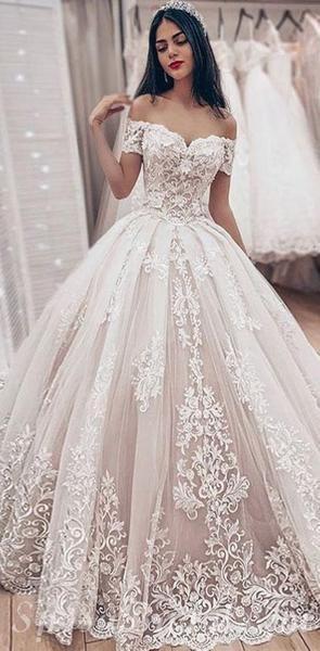Custom Off the Shoulder Lace Unique Deisgn High Quality Modest Long Popular Wedding Dresses, WD0340#2020weddingdress #weding #bridaldress #laceweddingdress #fashion #Ballgown #Country #boho #Princess #modest