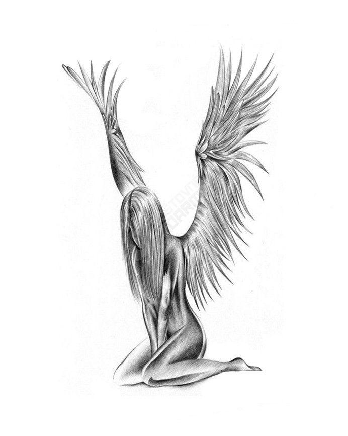 Dočasné tetování - smutný anděl