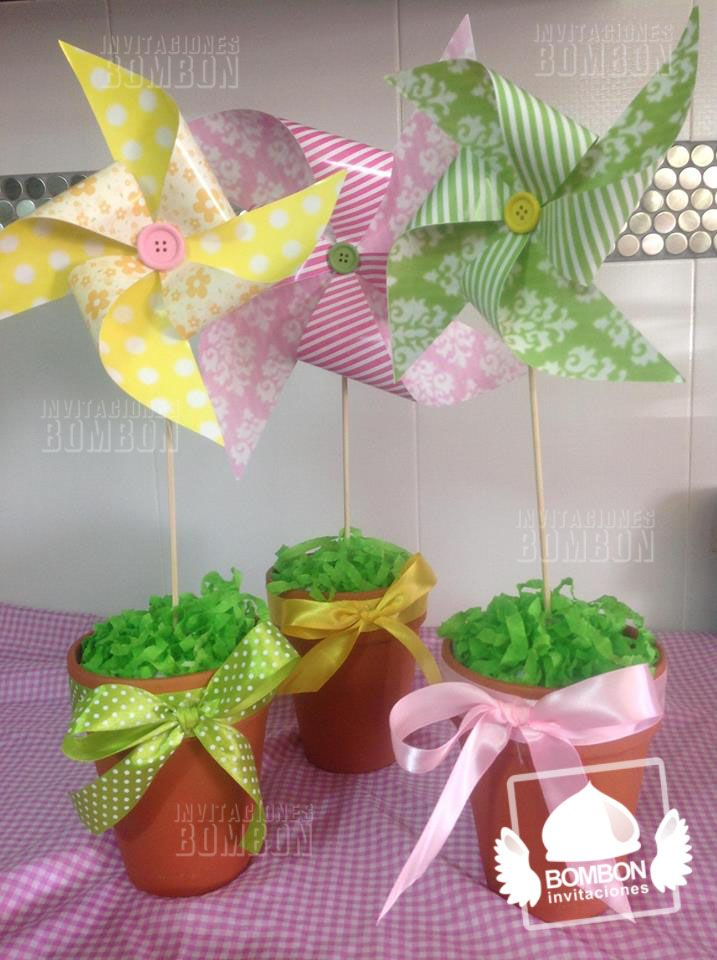 #Pastel #Colors #Pinwheel #Rehilete #Rehiletes #Birthday #Party #Cute #Invitaciones #Bombon #table #centerpiece #center #piece #centro #mesa
