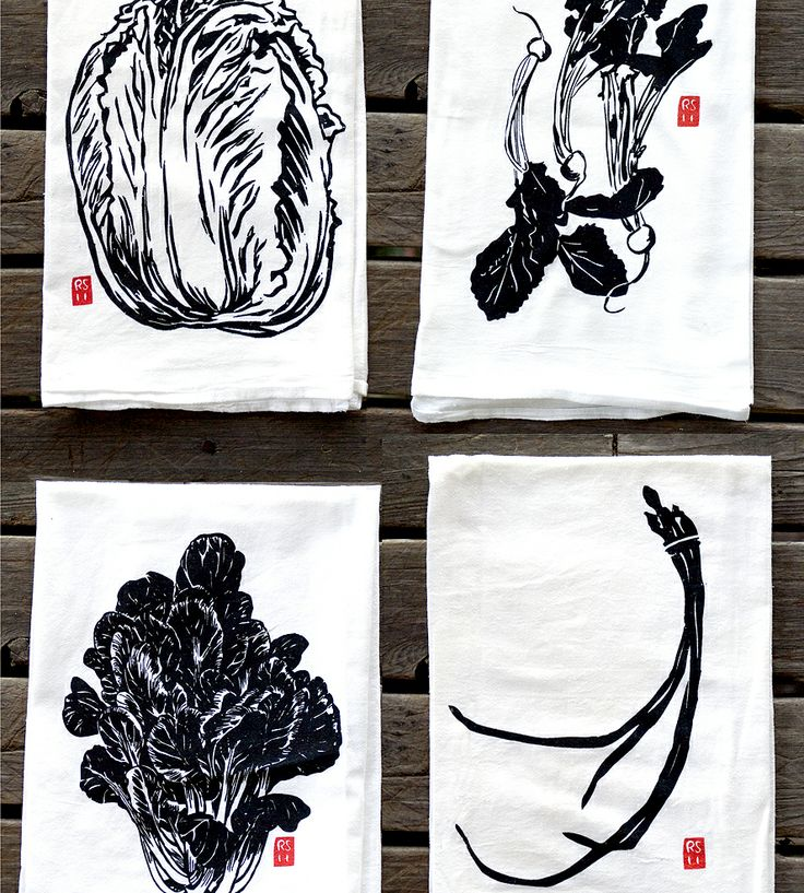 Asian Vegetable Dish Towel Gift Pack by Rigel Stuhmiller on Scoutmob Shoppe. This gift pack includes four handmade white dish towels with different black, white and red Asian vegetable designs on each one.