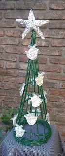 Arbol de navidad en cesteria de papel
