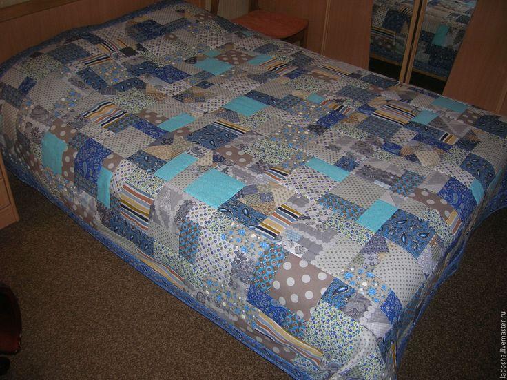 Купить лоскутное покрывало Москва Сити - голубой, лоскутное одеяло, лоскутное покрывало, из лоскутов, в спальню