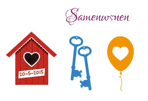 versieringen voor samenwoonkaarten / decorations for live-together announcements (what do you call this in English?)