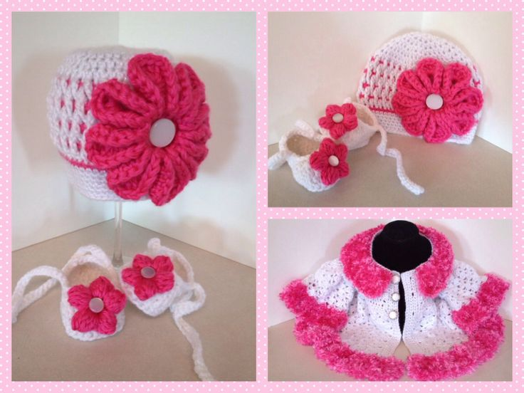 Crochet Baby Coat with Crochet Hat Adorned with Oversized Flower and Crochet Bootie Tie on Shoes. Crochet Swing Style Coat has Boa Fur Trim.  White and Hot Pink Size 6 Months http://facebook.com/Kats.hats.1
