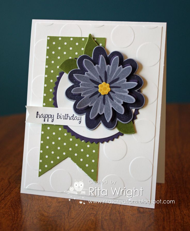 Rita's card: Flower Patch and its framelits, And Many More, Mossy Meadow dsp, Large Polka Dots embossing folder, and more. All supplies from Stampin' Up!