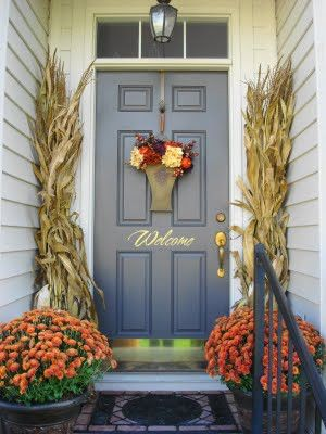 22 Fall Front Porch IdeasCorn Stalk, Fall Front Porches, The Doors, Porches Decor, Fall Decor, Front Doors, Porches Ideas, Fall Porches, Doors Colors