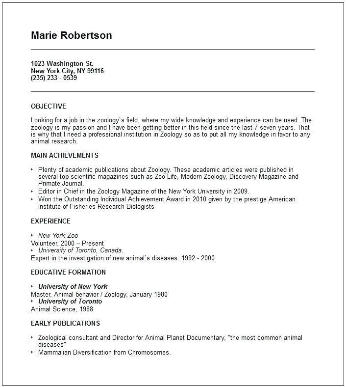For Zoology Lecturer Resume Examples Resume Template Examples