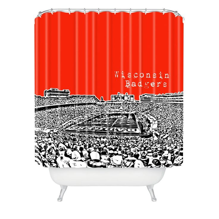 Bird Ave Wisconsin Badgers Red Shower Curtain   DENY Designs Home Accessories
