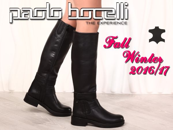 Γυναικείες μπότες από δέρμα σε μαύρο χρώμα. Ύψος της πλατφόρμας - 4 εκ. Τιμή: 102.00€