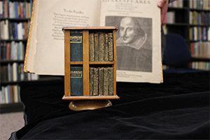 The complete works of Shakespeare, in miniature, with its own revolving bookshelf.