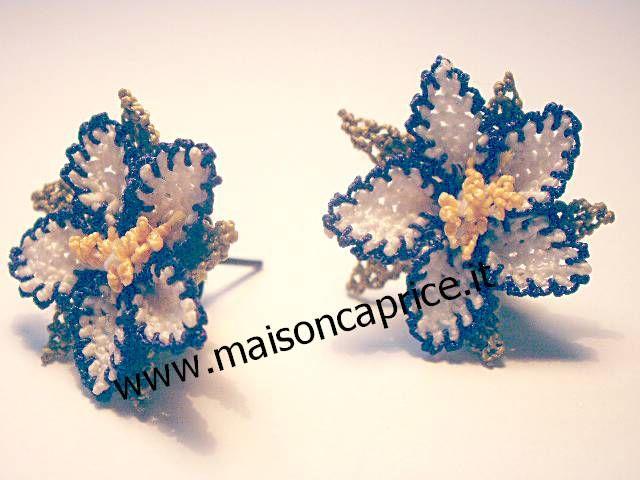 ultima moda: bellissimi orecchini in seta a forma di fiore fatti a mano ad ago, beautiful silk earrings hand made