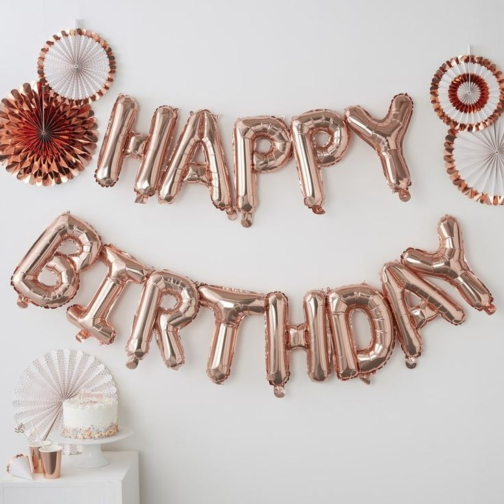 Happy Birthday foil balloon garland rose gold