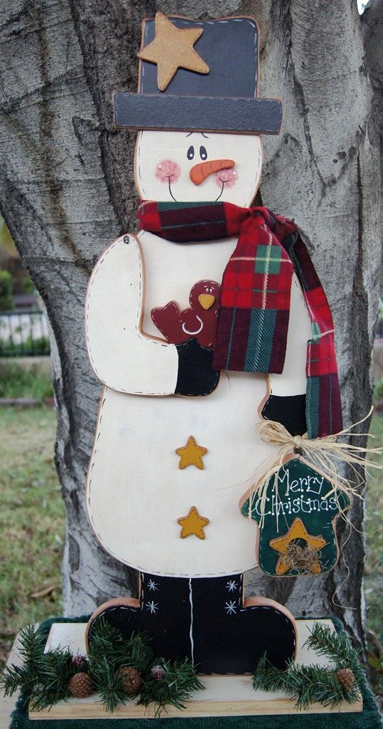 Merry Christmas Snowman Wood Christmas Outdoor Or Indoor