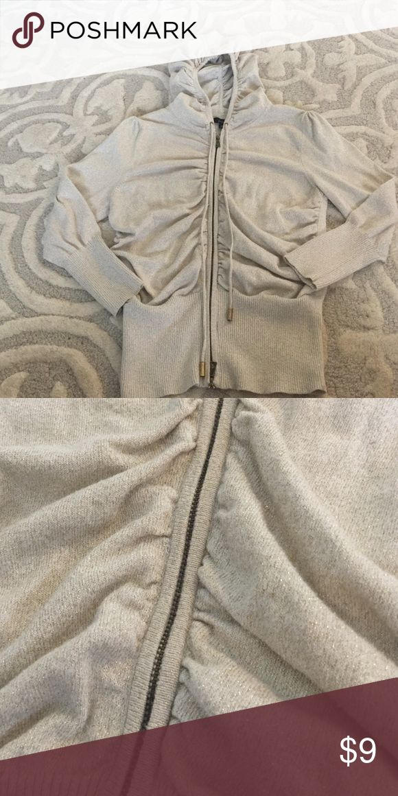 Sparkly cream zip up Good condition.  Size M.  Express.  Cream with gold sparkles.  Dual zipper.  3/4 sleeve. Cute ruching near zipper and on back of the hood. Express Tops