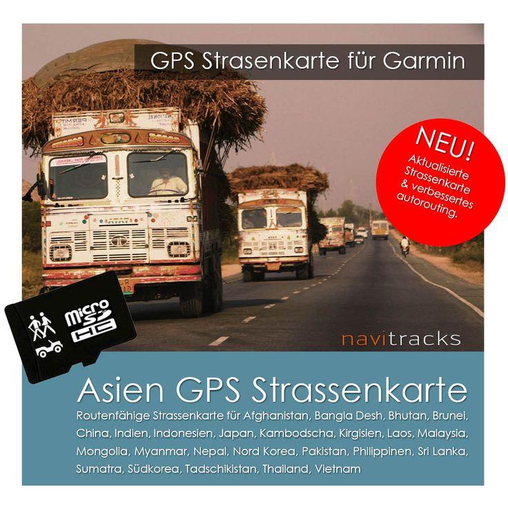 Asien GPS Strassenkarte für Garmin (4GB micro SD) | navitracks - Die Kartenmanufaktur