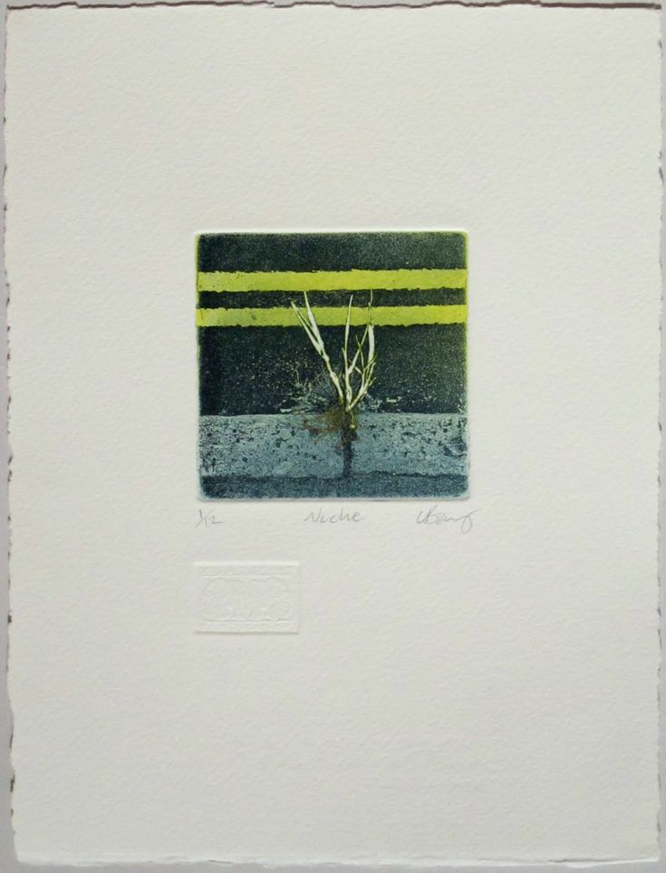 Niche. Photo etching with mono print. Image size 7.5x7.5cm paper size 24x18cm