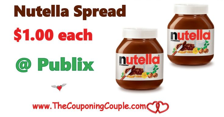 Cheap Nutella at Publix ~ Only $1.00 through 1/10 or 1/11. Time to stock up a few jars of delicious Nutella while we can get it at this price!  Click the link below to get all of the details ► http://www.thecouponingcouple.com/cheap-nutella-at-publix-only-1-00/ #Coupons #Couponing #CouponCommunity  Visit us at http://www.thecouponingcouple.com for more great posts!