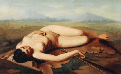 """""""Cazadora de los Andes"""" por Felipe Santiago Gutiérrez Siglo XIX"""