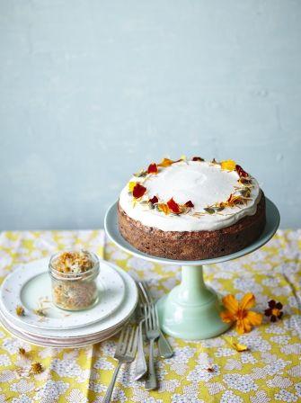 Apricot & root veg cake with honey yoghurt icing
