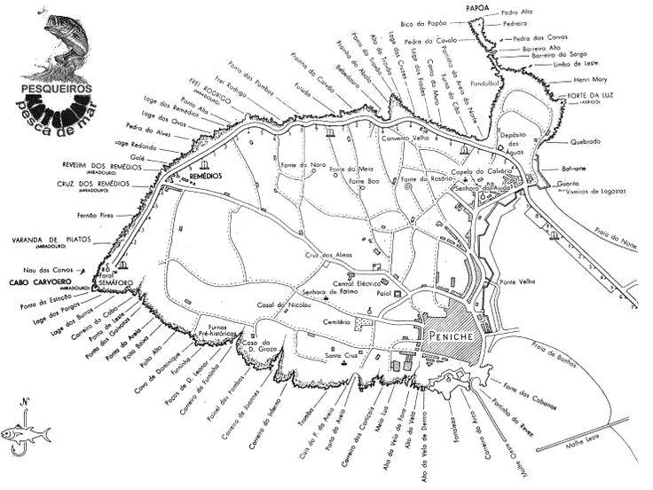 KATEMBE - PESCA DE MAR - Mapa dos pesqueiros da zona de Peniche