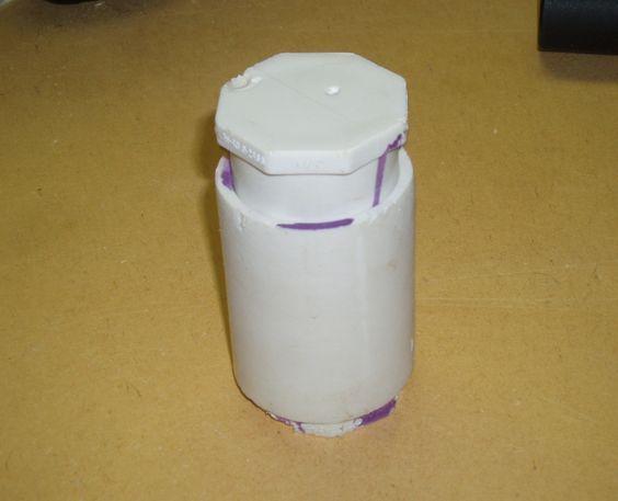 "Parts: (Per Grenade) (1) 1-1/4"" PVC Coupling (2) 1-14"" PVC Plug (not end cap) (1) 3/4"" PVC Plug (not end cap) (1) 3/4"" PVC Coupling PVC Glue Parts: (Per Shot) Baking soda Vinegar -OR- Baking Soda Citric Acid Powder Water"