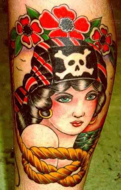 pirate girl tattoos | Red Flowers And Pirate Girl Portrait Tattoo