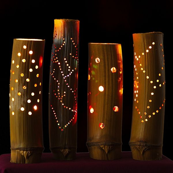Bamboo Mood Lights are all unique as they are made from our own home grown bamboo, cut and finished in our own workshops, and then fitted with festive lights.