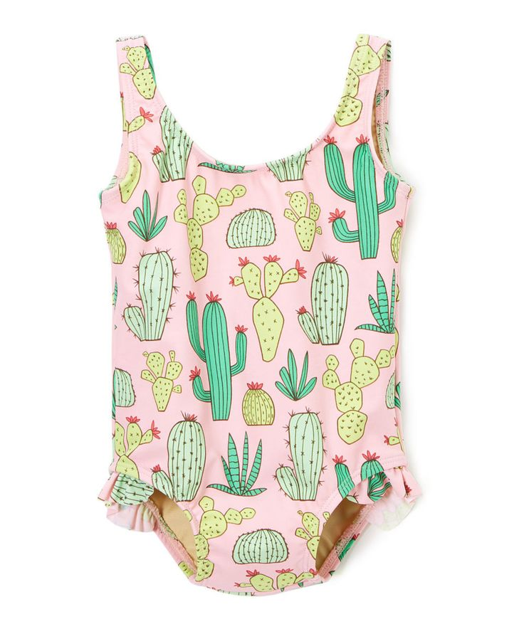 Look at this #zulilyfind! Red Dolly Swimwear Pink & Green Cactus Ruffle-Trim One-Piece - Infant by Red Dolly Swimwear #zulilyfinds