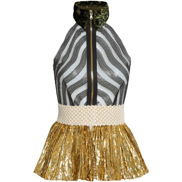 Sophie Theallet Mari sleeveless fil coupé silk-blend tulle top ($1,760) ❤ liked on Polyvore featuring tops, gold multi, embellished peplum top, stripe top, peplum tops, sleeveless striped top and embellished sleeveless tops