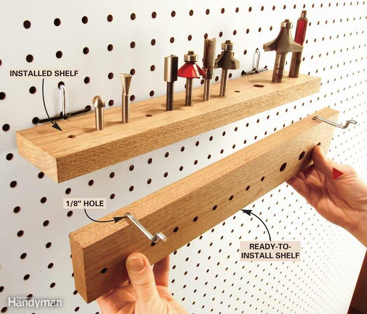 Here's a slick way to store a whole cluster of tools on pegboard with only two pegs. Cut some 2-1/2 in. wide mini shelves; drill holes or slots for router bits, screwdrivers, chisels and files; then drill a couple of 1/8-in. holes in the edges for the 1/8-in. diameter pegs. With a vise and pliers, bend the pegs to about 85 degrees and hammer them into the holes. Be sure the pegs fit tightly in the wood so the shelves can't fall off.
