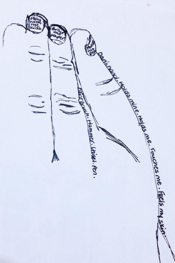 Dan's hands journal entry. March 2014. Ink on paper. Sara Ferrington. www.facebook.com/fershaw.art