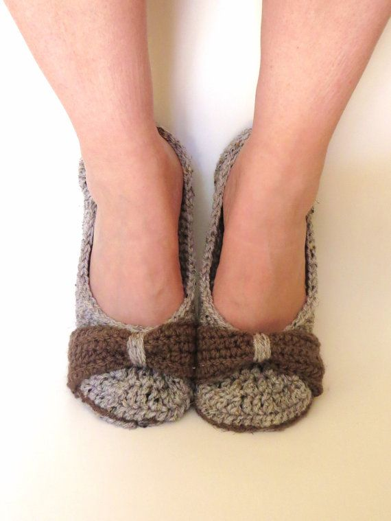 Womens Crochet Slippers Brown Tweed House by StoneyCreekKnitters, $35.00