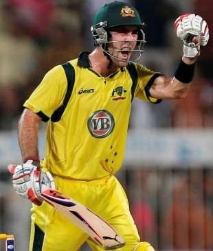 Glenn Maxwell struck an unbeaten 56 to steer Australia to a three-wicket win in Sharjah that secured a 2-1 series victory over Pakistan © Associated Press