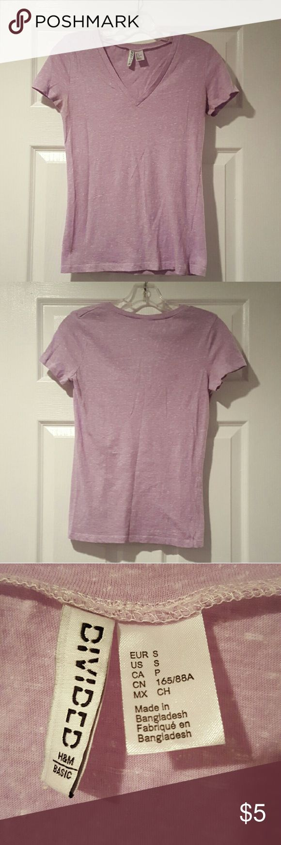 H&M Tshirt Lavender v-neck H&M tshirt. Worn 2 or 3 times. Practically brand new. Has a faded worn look to it. Super comfortable H&M Tops Tees - Short Sleeve
