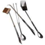Kaminbesteck STILUS v. Ferrari aus Edelstahl mit Ledergriffen I Ferrari Set of 4 stainless steel tools with leather handle