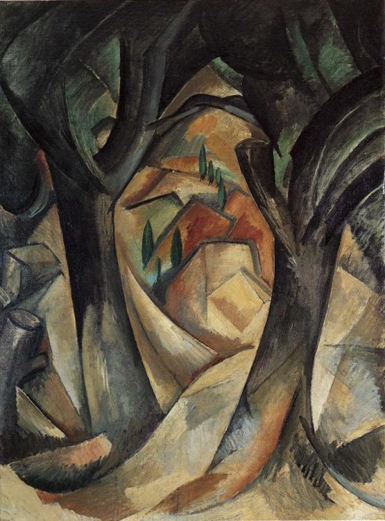 Page: Big trees at Estaque    Artist: Georges Braque    Completion Date: 1908    Place of Creation: France    Style: Cubism    Genre: landscape    Technique: oil