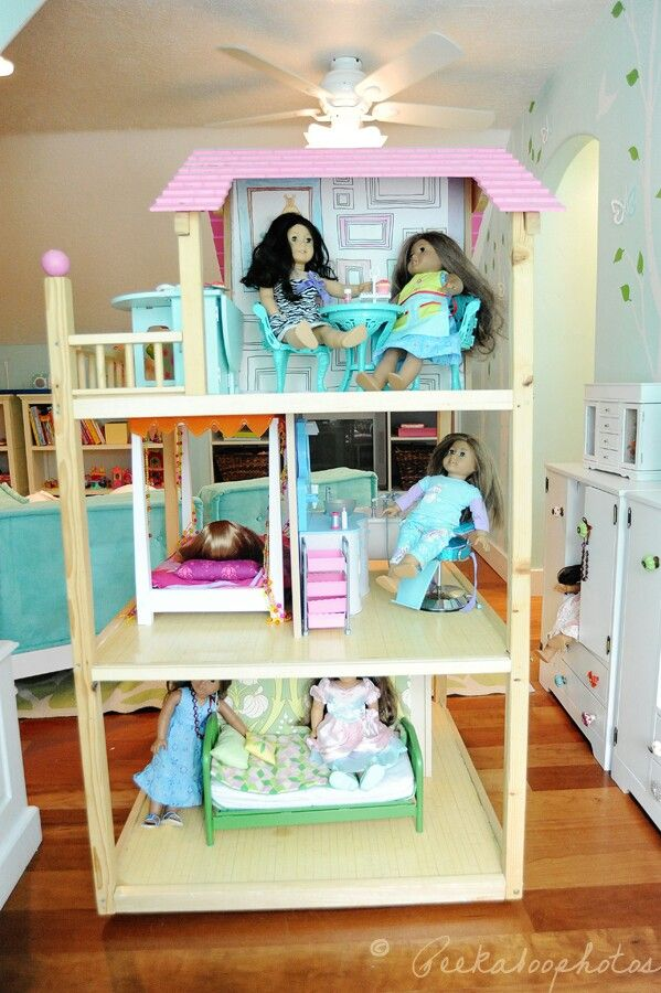 American Girl Dollhouse  Cosco Kidcraft House With Floors Moved A Little To  Make More Room, And Walls Taken Out.