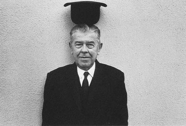 René Magritte being surreal by Duane Michals, undated