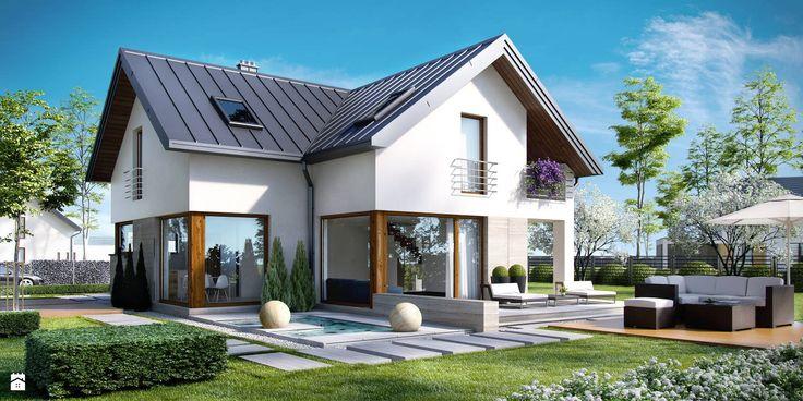 dach na rąbek stojący - zdjęcie od Novio.pl Projekty domów - Domy - Styl Nowoczesny - Novio.pl Projekty domów