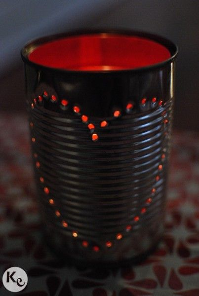 DIY. Tin can candle holder Paint the tin can's inner side with