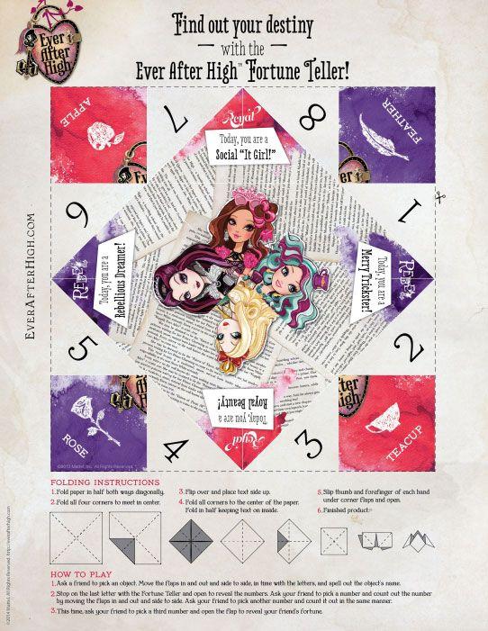 EAH printable fortune teller