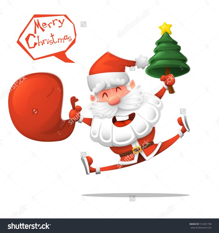 Cartoon. Jolly Santa Claus With A Christmas Tree Wishes You A Merry Christmas. Isolated Vector Illustration. Design Element. - 515281738 : Shutterstock