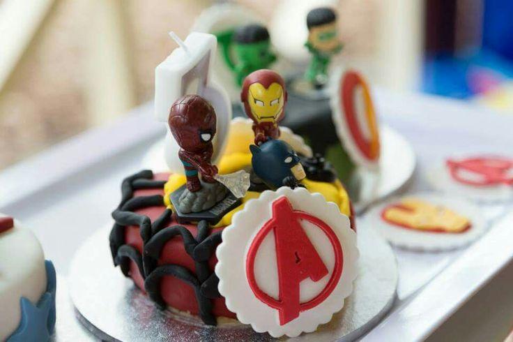 Iron man and spiderman mini cake