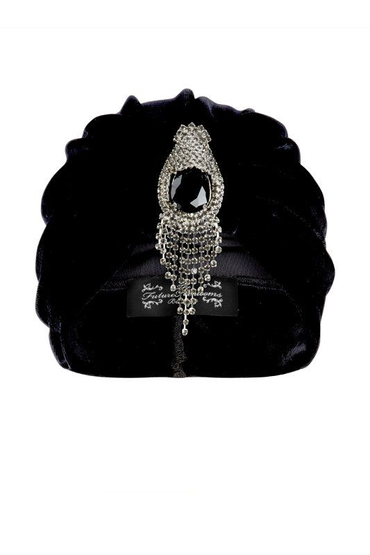 Black Velvet Turban with Bold Silver Hanging by TheFHBoutique, £30.00