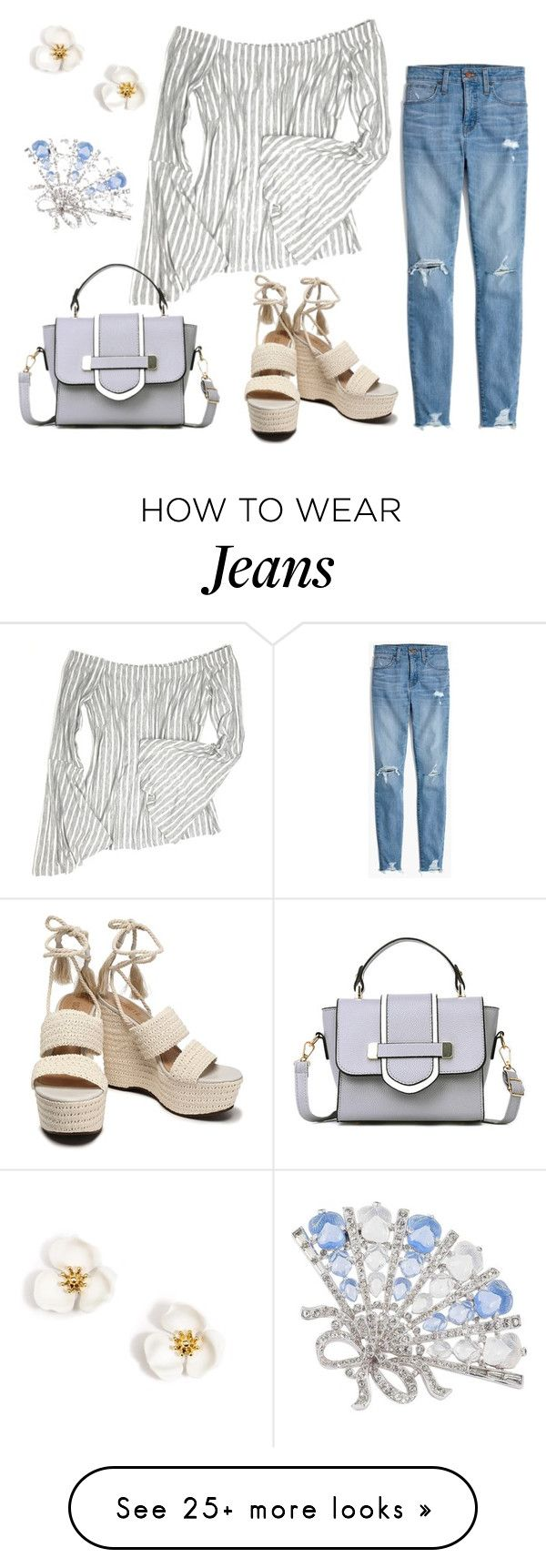 """Be Someone"" by coolmommy44 on Polyvore featuring Madewell, Schutz and Trifari"